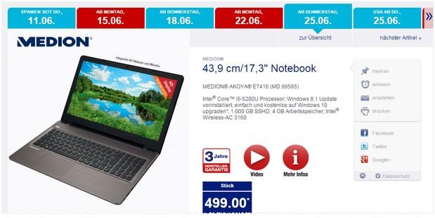 Medion Akoya E7416 MD 99585 als ALDI-Nord-Angebot ab 25.6.2015 für 499 €