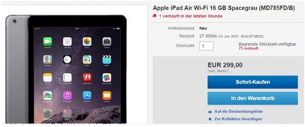 Apple iPad Air für 299 €