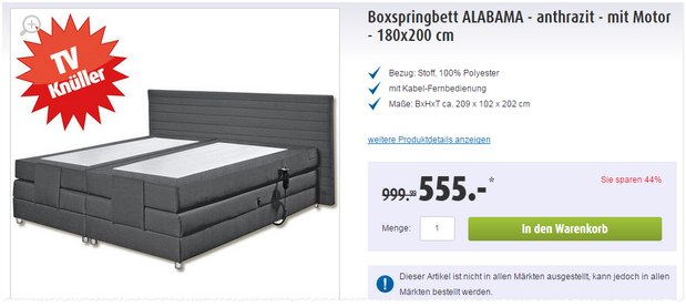 boxspringbett poco werbung angebot ab 1. Black Bedroom Furniture Sets. Home Design Ideas