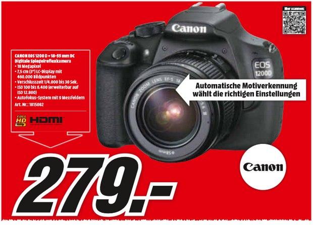 Canon EOS 1200D im Media Markt Prospekt für 279 €