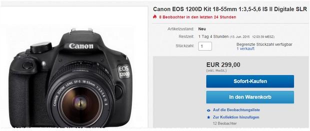 Canon EOS 1200D Preis unter 300 €