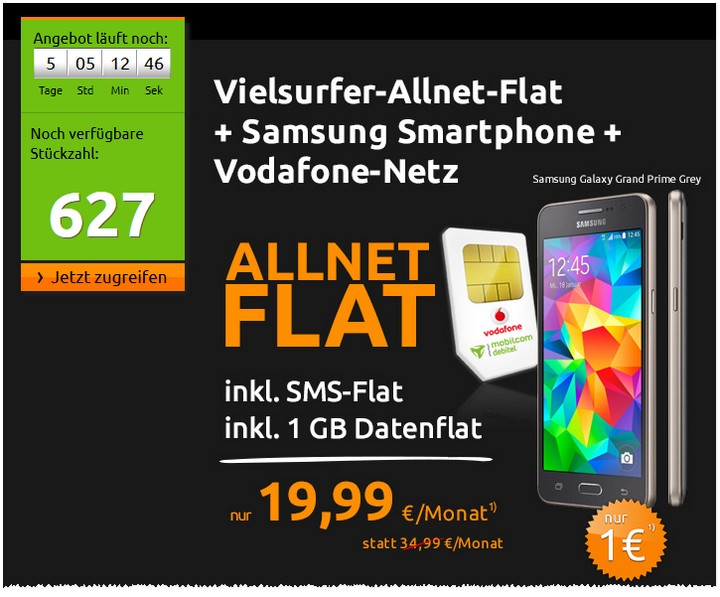 Crash-Tarife: Allnet-Flat + SMS-Flat + 1 GB Internet-Flat im D2-Netz mit Samsung Galaxy Grand Prime für 19,99 €