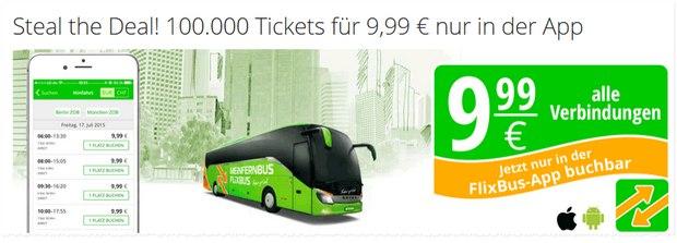 Flixbus-App-Tickets für 9,99 €