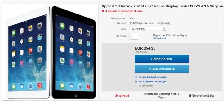 iPad Air mit 32GB bei eBay als Angebot