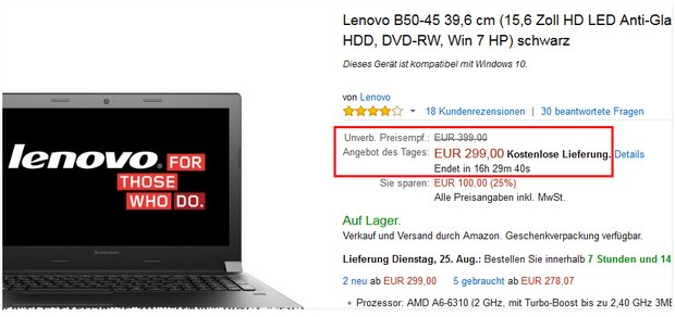 Lenovo-Notebook B50-45: 15,6-Zoll-Notebook mit 8 GB RAM + Windows 7 für 299 €