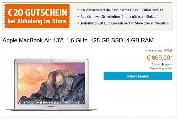 MacBook Air 2015 bei Gravis für 869 €