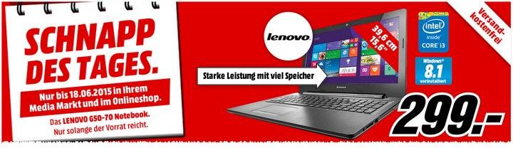 Media Markt Schnapp des Tages am 18.6.2015: Lenovo G50-70 für 299 €