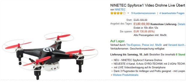 Ninetec Drohne Spyforce1 als Amazon-Tagesangebot
