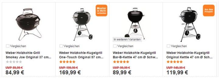 Reduzierte Weber-Grills aus dem OBI-Prospekt