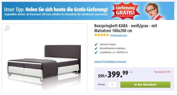 Roller Boxspringbett Kara gibt's unter 400 € für 399,99 € bei kostenloser Lieferung