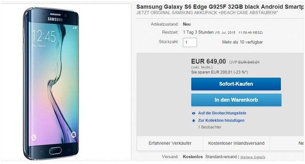 Samsung Galaxy S6 Edge ohne Vertrag für 649 € + Sommerpaket über Cashback holen
