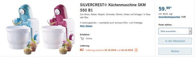 Silvercrest-Küchenmaschine SKM 550 B1 als LIDL-Angebot ab 22.10.2015 für 59,99 €