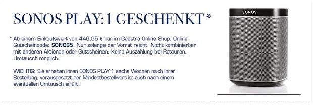 Sonos Play 1 gratis zur GAASTRA Bestellung