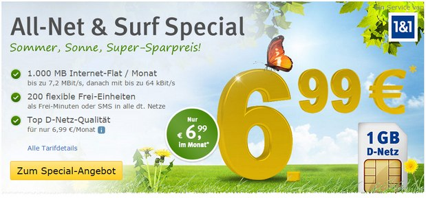 WEB.DE Mobilfunk-Tarif All-Net & Surf Special