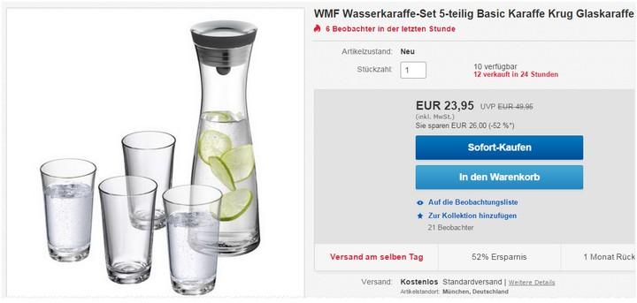 WMF Wasserkaraffe 5-tlg. für 23,95 €