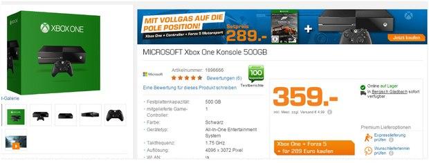 Xbox One + Forza 5 bei Saturn für 289 €