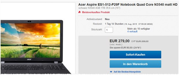 Günstiger Acer-Laptop: Acer Notebook Aspire ES1-512-P29F