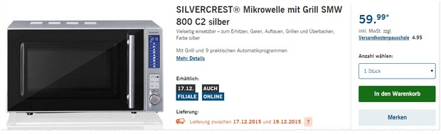 LIDL Mikrowelle Silvercrest SMW 800 C2