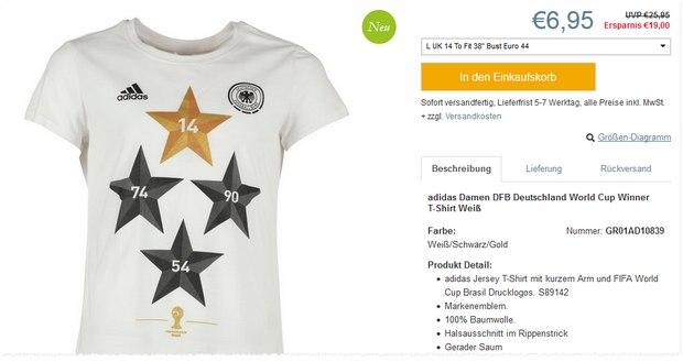 Adidas 4-Sterne-T-Shirt für Damen nur 6,95 €
