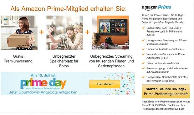 Mitgliedschaft zum Amazon Prime Day testen - 30 Tage kostenlos