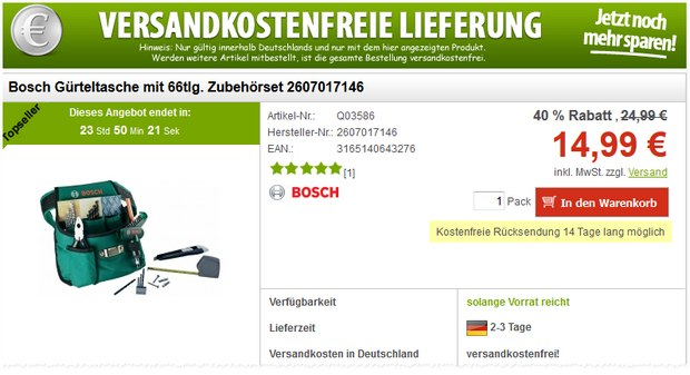 Bosch Werkzeugtasche bei Voelkner in den Blitzangeboten