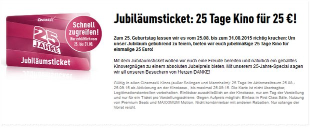 Cinemaxx-Jubiläumsticket