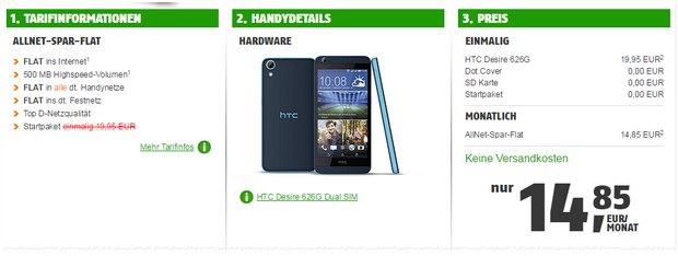 ComputerBILD-Klarmobil-Allnet-Flat-Aktion mit HTC Desire 626G für 14,85 €
