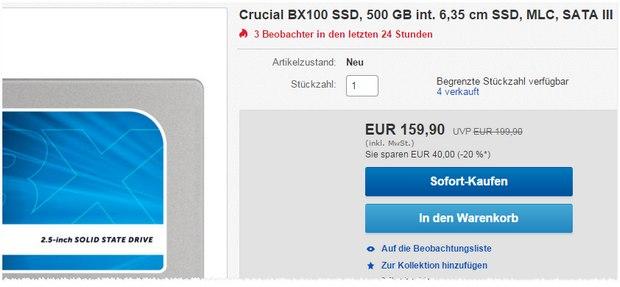 SSD-Festplatte Cruxial BX-100 SSD