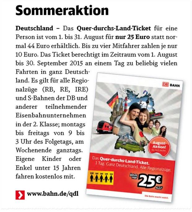 DB Quer-durchs-Land-Ticket für 25 €