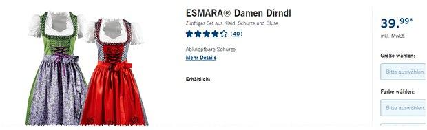 Esmara Dirndl für 39,99 €
