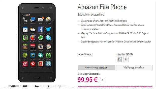 Fire Phone ohne Vertrag bei der Telekom unter 100 €