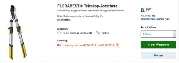 Florabest Astschere ab 3.8.2015 im LIDL-Angebot
