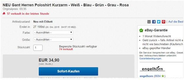 GANT Polo als Engelhorn-Sonntagsangebot 34,90 € - 30% Rabatt = 24,43 €