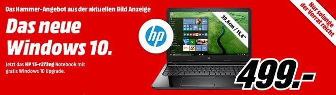 HP15-r273ng bei Media Markt für 499 € in der BILD-Werbung am 29.7.2015