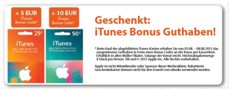 iTunes Karten Rabatt bei Müller