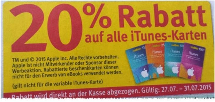 iTunes Karten Rabatt bei Rossmann