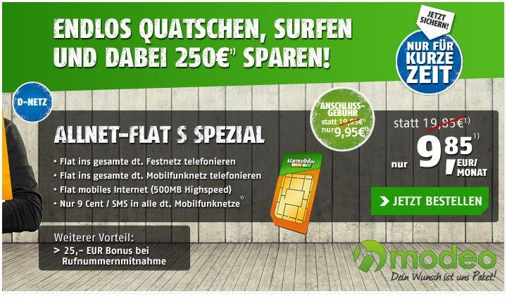 Klarmobil Allnet-Flat S im D-Netz bei Modeo für 9,85 €