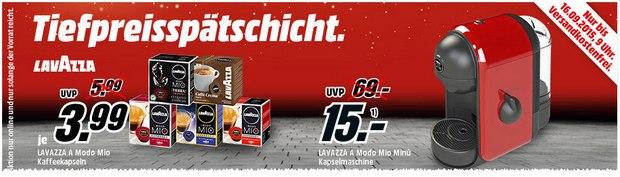 Media Markt Tiefpreisspätschicht am 15.9.2015 mit Lavazza A Modo Mio Minú Kapselmaschine für 14,99 €