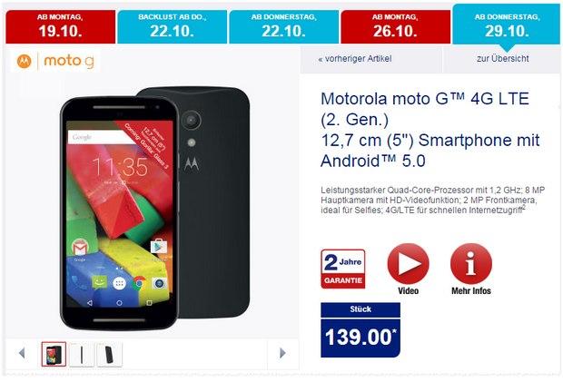 Motorola Moto G2 (LTE) als ALDI-Nord-Angebot ab 29.10.2015 für 139 €