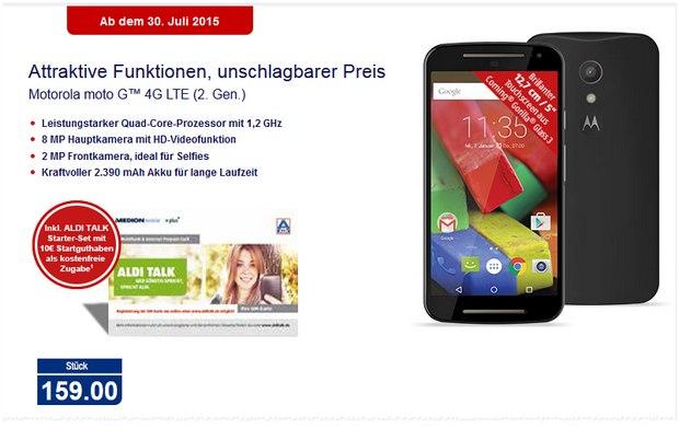 Motorola Moto G (2nd Edition) mit 4G/LTE als ALDI-Nord-Angebot ab 30.7.2015