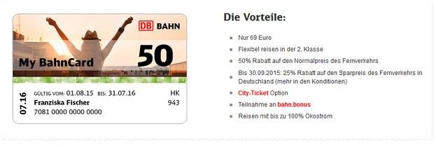 my BahnCard 50 für 69 €