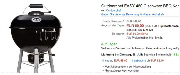 Outdoorchef Easy Charcoal 480 Kugelgrill für 69 € als Amazon-Tagesangebot