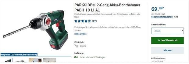 Parkside 2-Gang-Akku-Bohrhammer PABH 18 LI A1