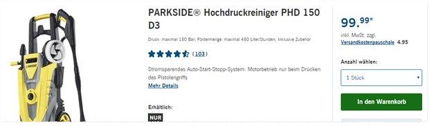 Parkside Hochdruckreiniger PHD 150 D3 als LIDL-Angebot ab 25.2.2016