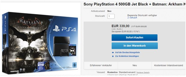 PlayStation 4 (500 GB) + Batman Arkham Knight für 339 €