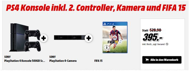 PlayStation 4 Megapack + FIFA 15 als Media Markt Schnapp des Tages am 16.7.2015