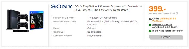 PlayStation 4 + 2. Controller + The Last of Us zum Bundle-Preis von 399 €
