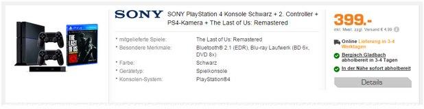 PlayStation 4 + 2. Controller + The Last of Us zum Bundle-Preis von 399 €