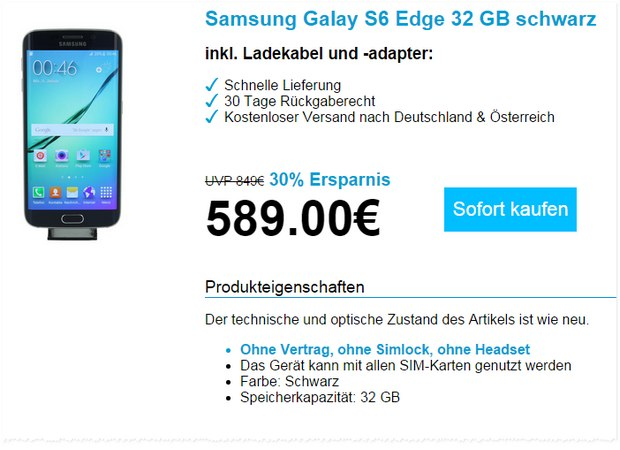 Samsung Galaxy S6 Edge (32 GB) als B-Ware 589 €