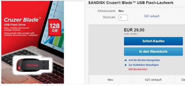 SanDisk Cruzer Blade: 128 GB USB-Stick bei Media Markt für 29 €